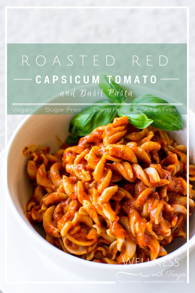 Roasted Red Capsicum, tomato and basil pasta
