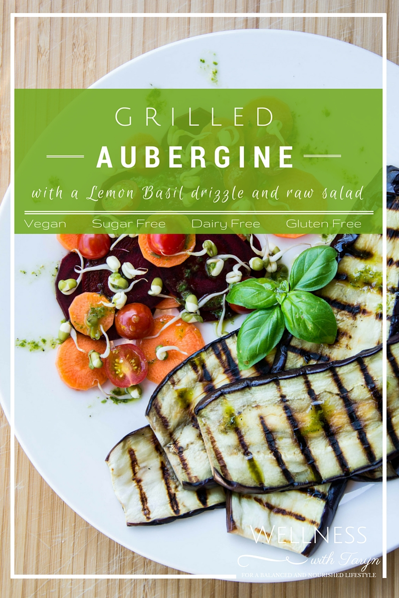 Grilled Aubergine with Lemon Basil Drizzle
