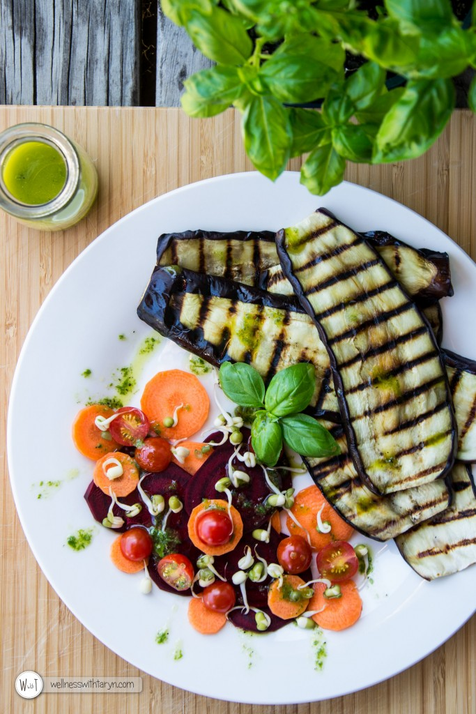 Grilled aubergine with lemon basil dressing (20 of 29)