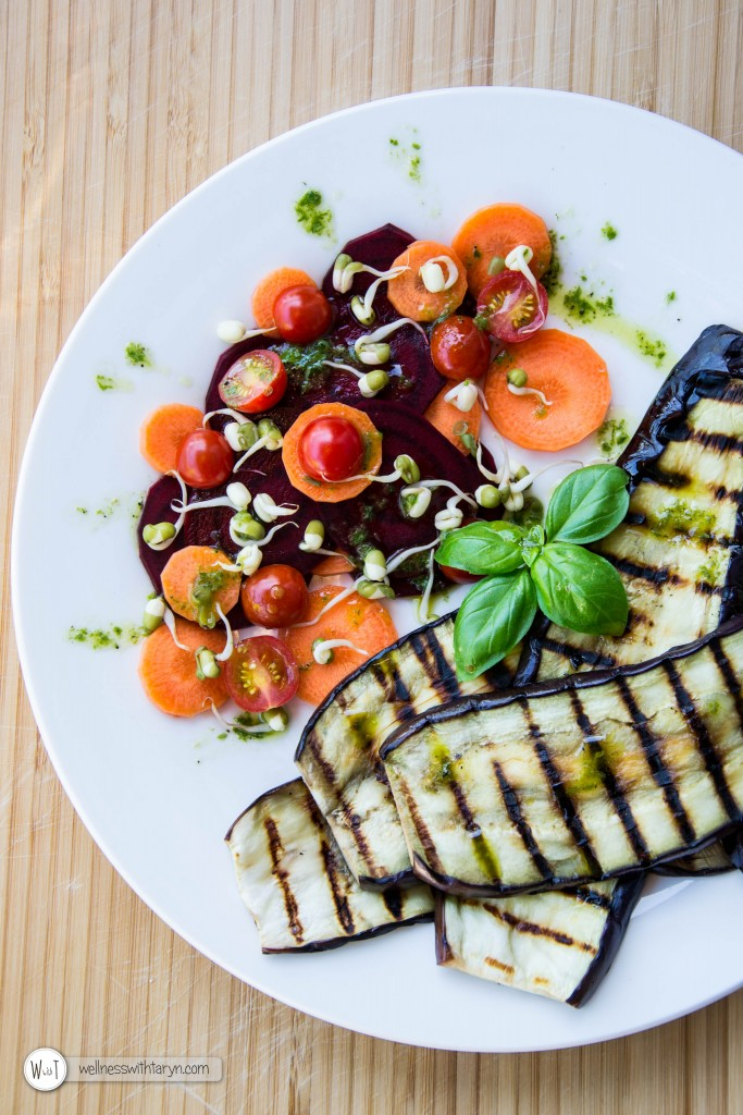 Grilled aubergine with lemon basil dressing (28 of 29)
